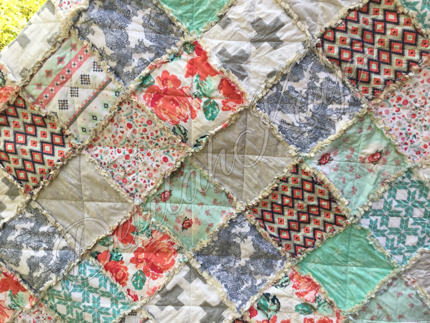 Rag Quilt Patterns For Twin Bed : Twin Size Rag Quilt ReCollection Katarina Roccella Coral