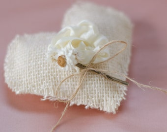 Heart Shaped Ring Bearer Pillow - Small - Rustic Ivory Burlap with Hand Sewn Silk Rose - Wedding