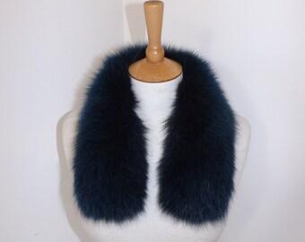 Vintage blue real raccoon fur collar tippet trim