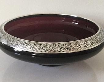 Purple Amethyst Glass with Silver Rim  - Art Deco Art Nouveau Scrying/Gazing Bowl - Depression Era 1920s