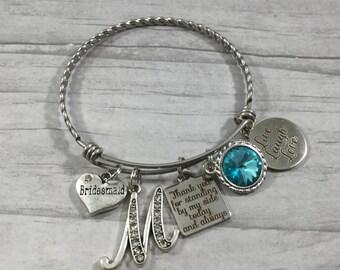 Bridesmaid Gift, Bracelet for Bridesmaid, Bangle bracelet, wedding keepsake, gift from bride, Teal, Aqua, Turquoise, Maid of Honor Bracelet