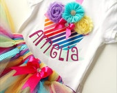 Rainbow Theme Girls First Birthday Bodysuit Personalized Name Baby Onesie All Sizes Available