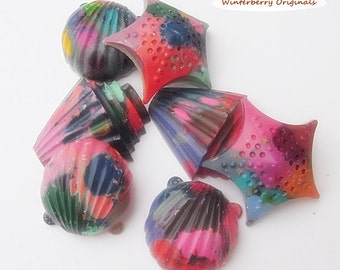 Upcycled Seashell Crayons - Multi-Colored , Bag of 7 - Recycled Crayons , Party Favor , Stocking Stuffer