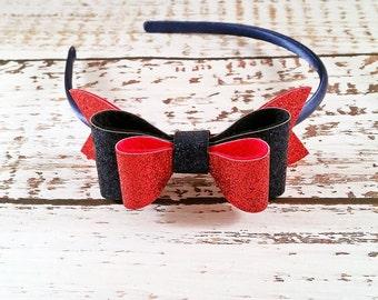 Red Navy Glitter Bow,Red Navy Hair Bow,Navy Red Headband,Oversize Glitter Hair Bow,Toddler Girls Women,Hard Headband, Felt Bow Headband