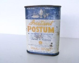 4 oz Tin Vintage Postum Cereal   Instant Beverage Drink