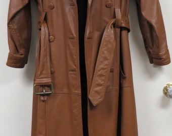 Vintage Full Length Leather Coat Double Breasted Belted Together Trench Coat Unisex