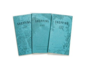 notepad SHOPPING list -Lot of 3 - blue marble pattern - SHO7003B