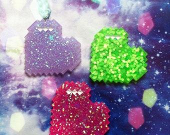 Big Pixel Heart Necklace, Kawaii, Pastel Goth, Fairy Kei, Gamer