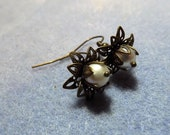 Glass Pearl and Brass Tone Water Lily Beaded Earrings