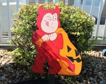 Devil Dragging a Pumpkin Yard Sign / Decor / Art