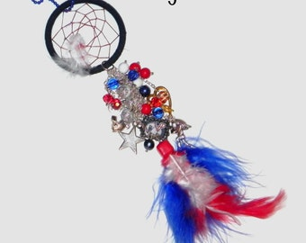 New England Patriots  Inspired Dream Catcher Car Charm Dazzler - Red, White and Blue - Helmet, Football, Star, American Flag, Player, Play
