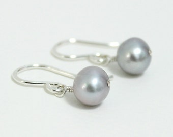 Freshwater Pearl Earrings ~ Tiny Dainty Light Grey Pearl ~ Small Dangle Drop Earrings ~ Sterling Silver ~ Tiny Earrings ~ Gift for Woman