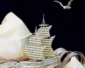 Rime of the Ancient Mariner Father's day card from a book sculpture - boat - ship - waves