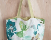 Watercolor Floral Tote- Soft Flower Tote- Linen Tote- by beckyzimmdesign