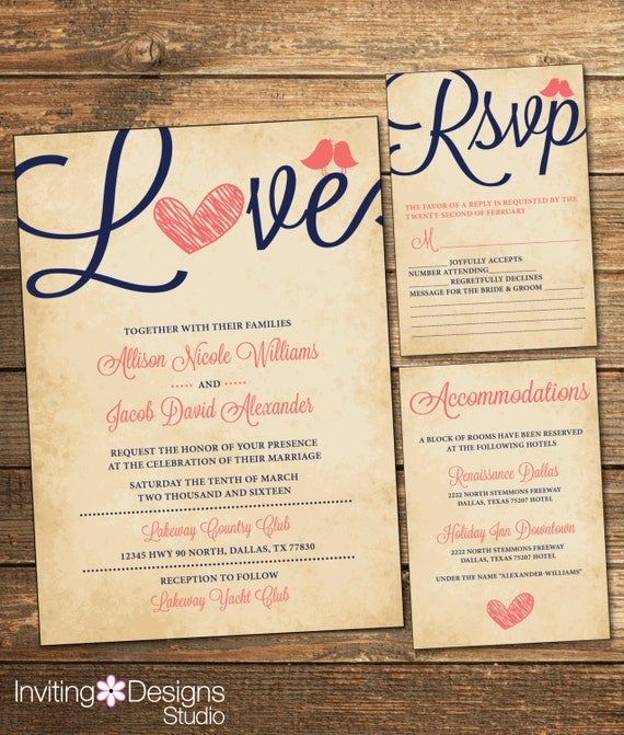Rustic Wedding Invitation Suite - Navy and Coral