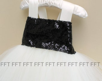 Ivory and Black Sequin Flower Girl Tutu Dress