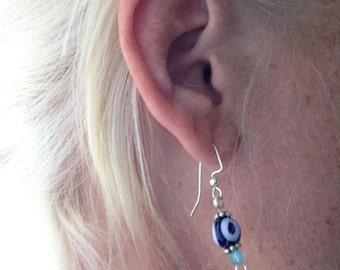 Tiny Evil Eye Earrings on Sterling Silver Hooks Fashion Jewelry Handmade Evileye Blue Evil Eye Earrings Small Boho Earrings Small Earrings