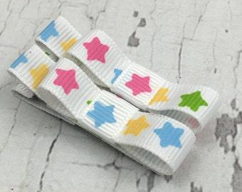 Baby Hair Clips - Rainbow Stars - Tuxedo Alligator or Snap Hair Clip Set - Baby, Girl, Toddler, Children
