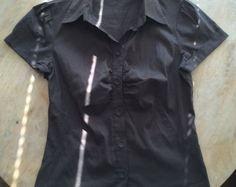 Brown Short Sleeve Shirt Blouse Top Stretchy S/M