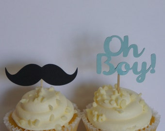 Set of 12 boy baby shower cupcake toppers Oh boy mustache food picks