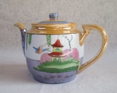 Lustreware Tea Pot, Vintage Mid Century Made in Japan,Pagoda, Wisteria, Bird, Purple, Orange, Green White, Red, Porcelain