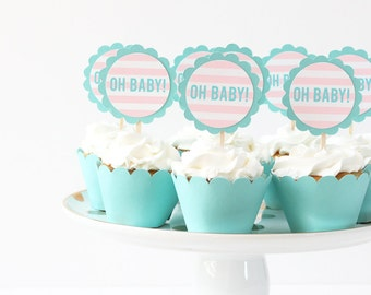 Oh Baby Cupcake Toppers Gender Reveal Party Cupcake Topper Gender Neutral Cake Topper Pink and Blue Party Supplies Baby Shower Decorations