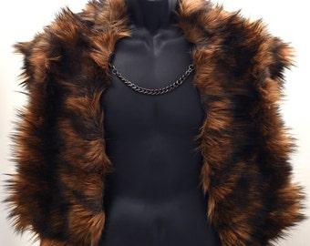 Jon Snow - Faux Fur cape - Faux Fur Wrap  with stylish chain closure