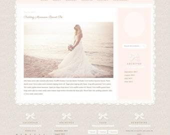 Responsive Wordpress Theme - Blog Design - Premade Wordpress Template - Linen & Lace, Romantic, Feminine, Pretty, Beautiful, Vintage