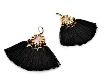 Black Fan Earrings, Boho Tassel Earrings, Large Fringe Earrings, Black Dress Earrings, Gift for Christmas, Hippie Statement Earrings