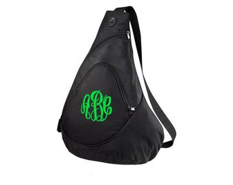 Monogrammed Sling Bag-Monogrammed Sling Backpack-Personalized Sling Bag-Monogram Sling Bag-Monogram Cross Body Bag-Monogram Sports Sling Bag
