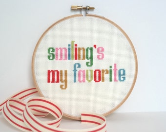 Smiling's My Favorite | Elf cross stitch quote