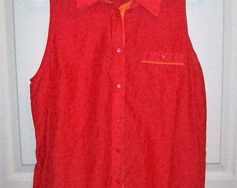 Vintage Ladies Red Orange Silk Blend Blouse by JC Penney Extra Large Only 6 USD
