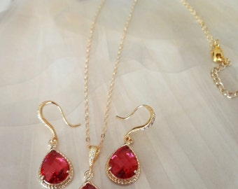 Red necklace and earring set - Teardrop set - Gold filled ~ Bridal Jewelry set - Wedding jewelry set ~ July birthstone - HIGH QUALITY -