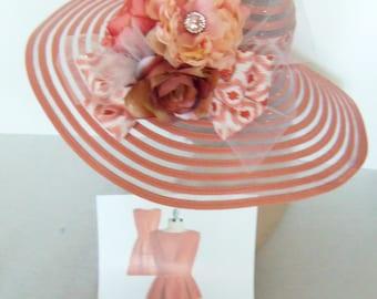 Wide Brim Coral Hat - CUSTOM - Kentucky Derby Hat