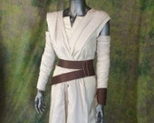 Star Wars Rey Cosplay--- Full Costume Set, Includes Pants, Shirt, Tabards, Arm wraps, and Genuine Leather belt and Brace--- Custom Made