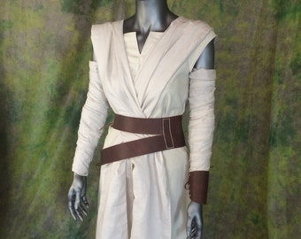 REDUCED-- Star Wars Rey Cosplay--- Full Costume Set, Includes Pants, Shirt, Tabards, Arm wraps, and Genuine Leather belt and Brace