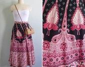 Vintage 70's Pink Peacock Print Indian Cotton Boho Wrap Skirt M L XL XXL (Adjustable)