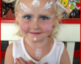 Kids Temporary Tattoos - Snowflakes, Santa's Sleigh Assorted Temp Tattoos - Face painting enchancements - Skin Art - Tiny Tattoos SALE