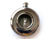Tiny Bunny Rabbit Round Glass Window Flask