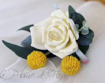 Ballendean - Cream rose and yellow billy button Men's Buttonhole / Boutonniere with Australian native foliage.