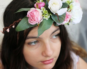 Jerrie - pink and white floral crown Silk flower crown, hair circlet. Silk roses, jasmine, Geraldton wax and native foliage hair accessory.