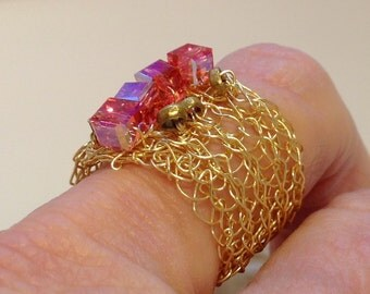 Wire Crochet Gold Wide Bank Ring with Swarvoski Indian Pink Crystal AB Cubes US Size 9