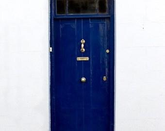 Blue Door Photograph, Architecture Art Print, Ireland Photography, Blue And White Decor, Travel Photography, Blue And Gold Decor