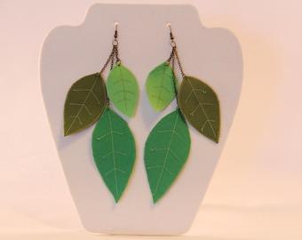 Leaf earrings, artisan jewelry, fiber art earrings, nature inspired jewelry, dangle leaf jewelry, statement earrings, green leaves