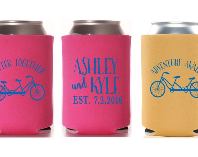 Wedding Can Coolers | Better Together | Adventure Awaits | Tandem Bike | Personalized  for Bride and Groom with Wedding Date