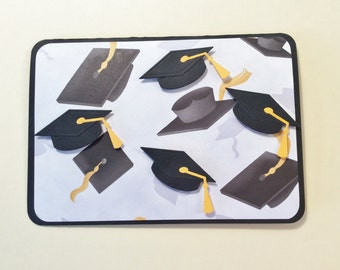 Handmade, Graduation Card, Congratulations, Diploma, Graduation Caps, Cardstock, Black, Yellow, 4 Raised Caps