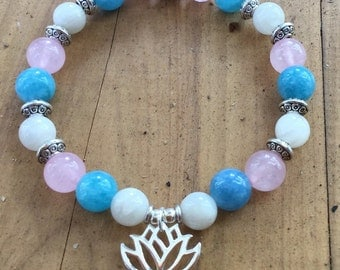 ॐCrystal Blissॐ Fertility IVF Bracelet Charged With Reiki, made from Moonstone, Aquamarine and Rose Quartz with a Sterling Silver Lotus