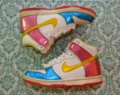 Vintage 90s Colorful NIKE High Top Sneakers Women's US 5.5 5 and A Half