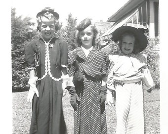 """Vintage Snapshot """"Playing Dress-Up"""" Cute Little Girls in Their Mother's Clothes - Polka Dot Dress - White Gloves - Found Vernacular Photo"""