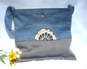 Denim Floral Tote Bag, Recycled Denim Handbag, Handmade Tote Bag, Medium Tote, Womens Shoulder Bag, Floral Jean Bag, Floral Fabric Handbag